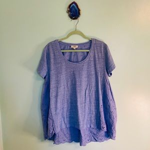 Umgee Periwinkle Top with Eyelet Back